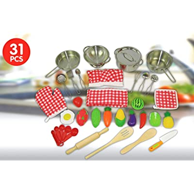 Oojami 31 Pcs Fun Toddler Kitchen Pretend Play Accessories Play Set Stainless Steel Pots and Pans, Includes a Chef Hat and Apron, Includes Fruits and Vegetables, Includes Kitchen Utensils: Toys & Games