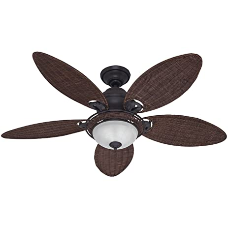 Hunter fan company 54095 caribbean breeze 54 inch ceiling fan with hunter fan company 54095 caribbean breeze 54 inch ceiling fan with five antique dark wicker mozeypictures Image collections