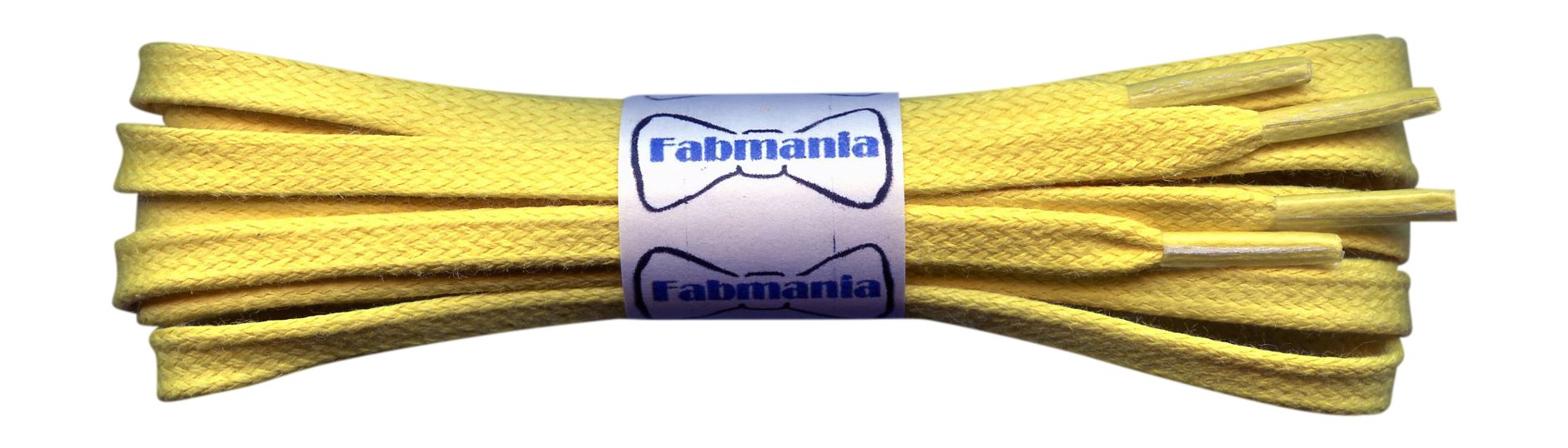 Waxed Cotton Shoelaces – 1/4'' flat – Ideal for sports and casual shoes - Yellow - length 30'' / 75 cm