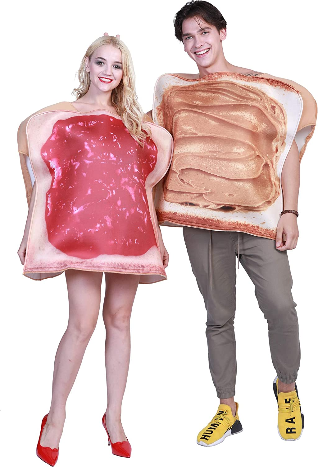EraSpooky Couples Halloween Costumes for Adults Plus Size Funny Food Peanut Butter and Jelly Costume - Cosplay Party