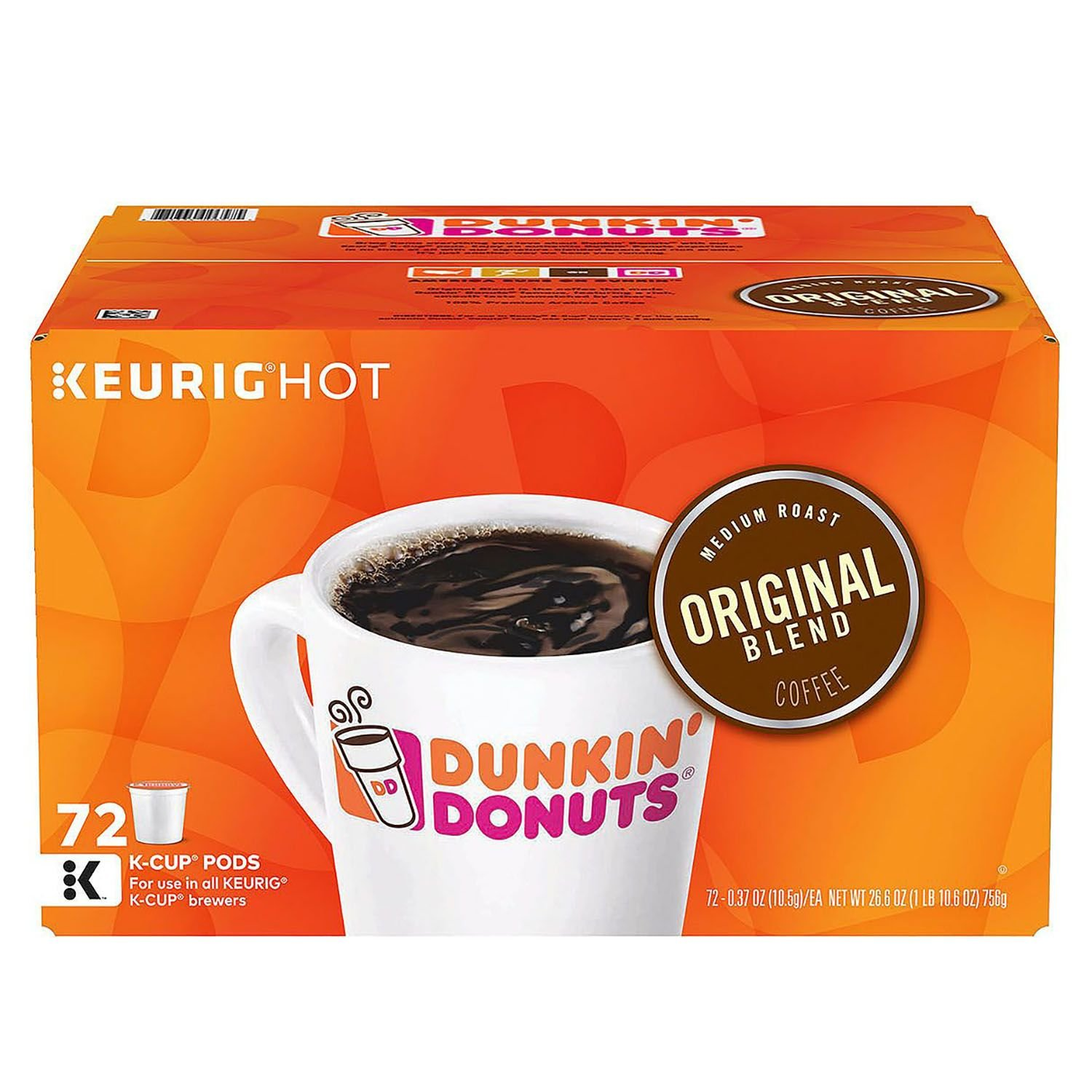 Dunkin' Donuts Original Blend Coffee K-Cup Pods, 1 Box of 72 Count K-Cups
