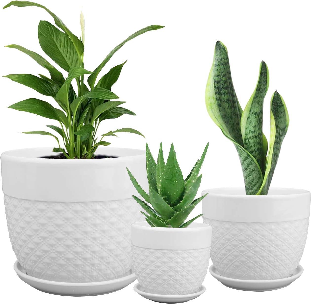 Brajttt Flower Pots, 3 PCS Pearl White Anti Slip- Glazed Ceramic Plant Pots with Drainage Hole & Saucers, S/M/L Sized Indoor & Outdoor Garden Planting and Succulent Pots- Home Décor Tool