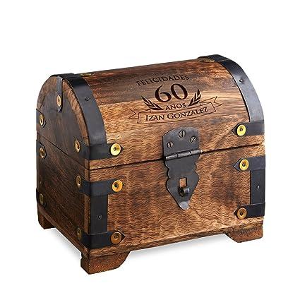 Casa Vivente – Cofre de Madera Oscura – 60 Cumpleaños – Personalizado – Caja para Regalar
