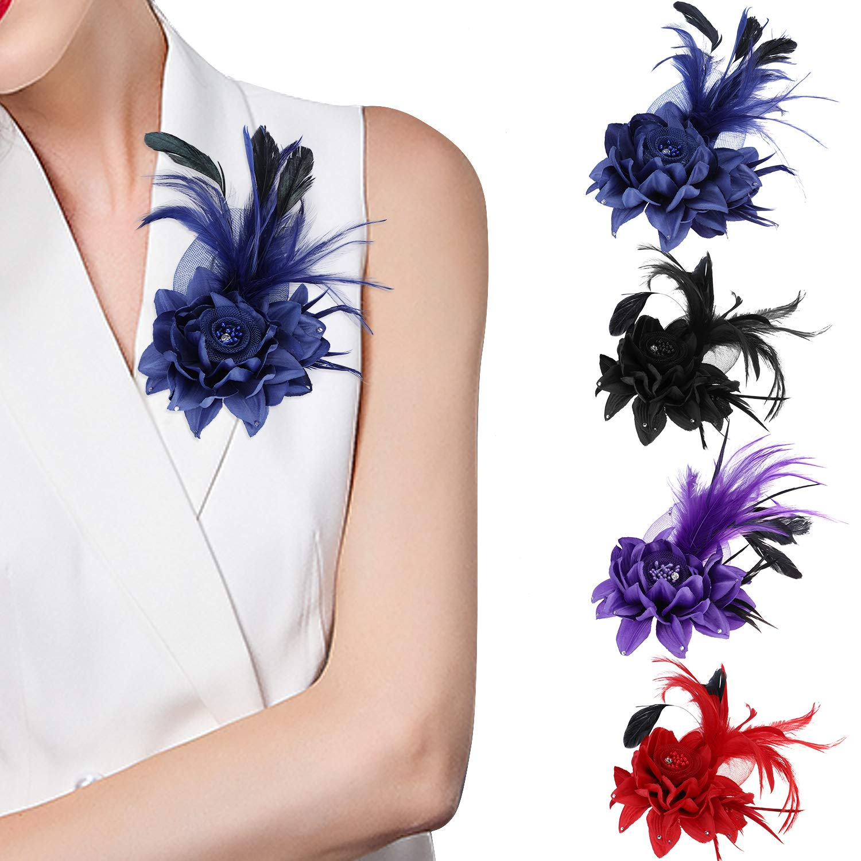 Hotvivid Fascinators for Women Tea Party Wedding Headband Rose Flower Feather Brooch Hair Clip