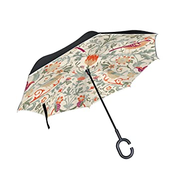 jstel doble capa puede William Morris flores paraguas coches Reverse resistente al viento lluvia paraguas para