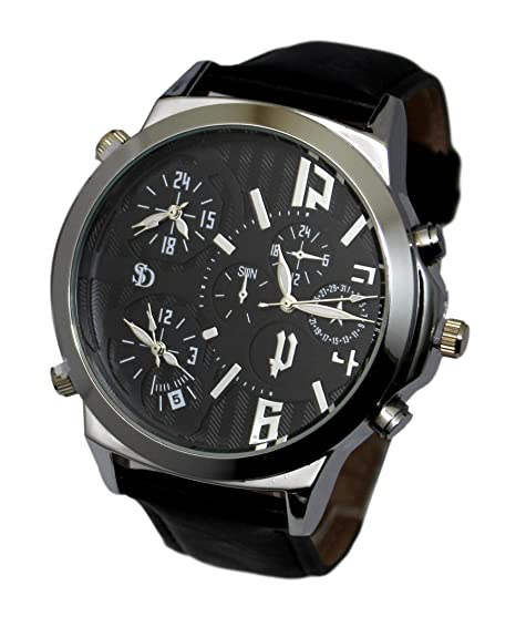 Reloj de Hombre Reloj Grande XXL Triple gráfico Multi esferas Black Edition: Amazon.es: Relojes