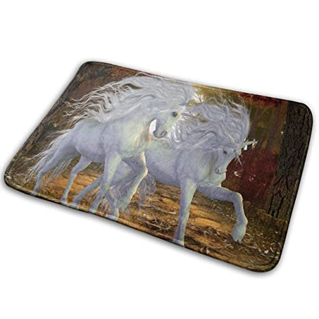 Horses Animal Painting Absorbent Bathroom Shower Rug Flannel Carpet Door Mat