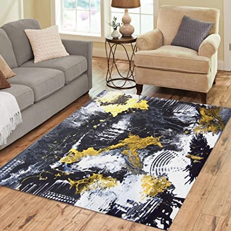 Pinbeam Area Rug Abstract Hand Black And White Gold Painting Home Decor Floor Rug 3 X 5 Carpet Kitchen Dining