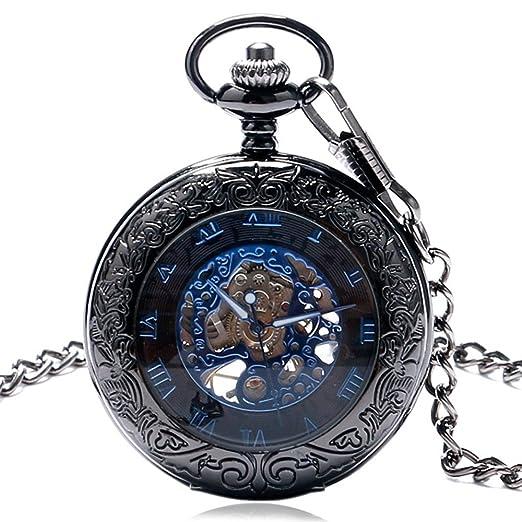 wior Retro mecánico reloj de bolsillo reloj de bolsillo, números romanos hombre llavero con cadena y caja de regalo: Amazon.es: Relojes