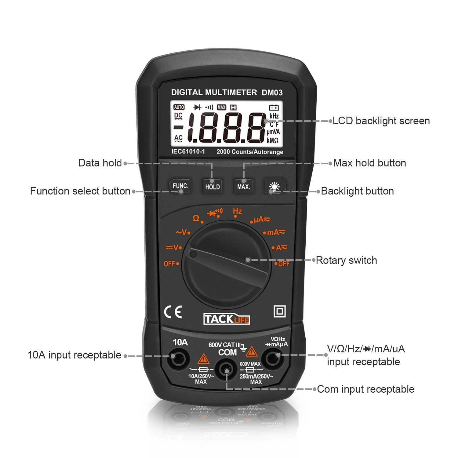 Multimeter Tacklife Dm03 Electrical Tester Auto Classical Telephone Hybrid Circuit Electronics