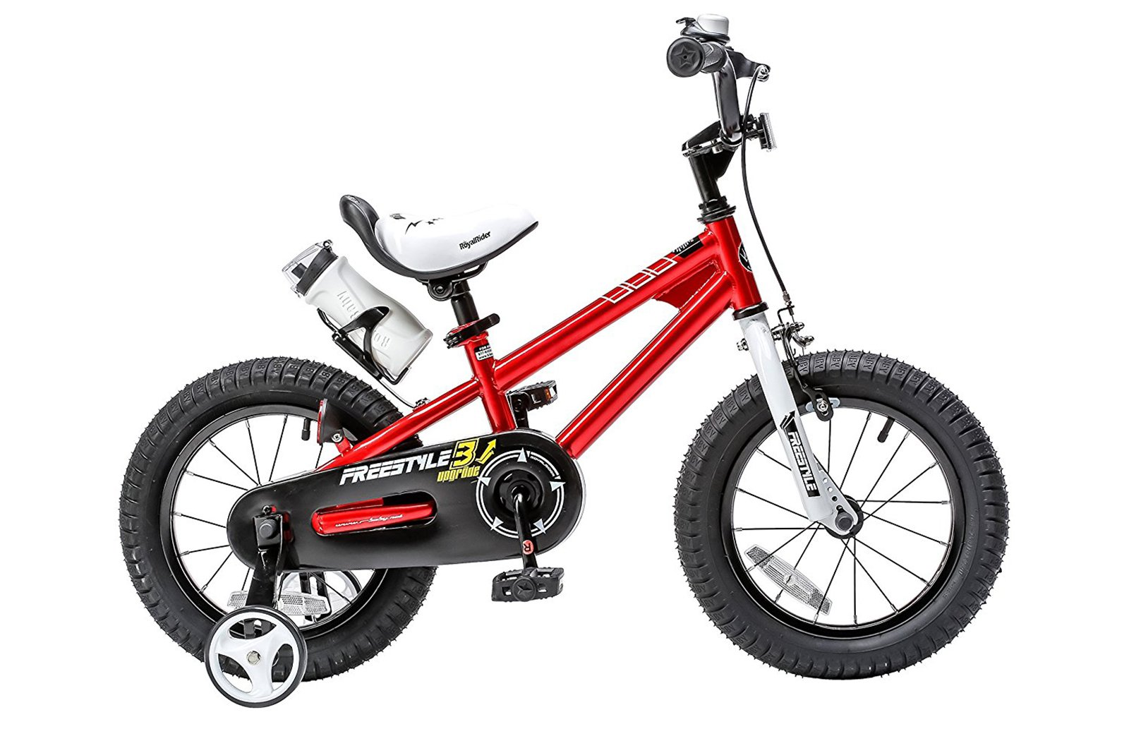 Royalbaby Freestyle Kid's Bike, 16 inch with Training Wheels and Kickstand, Red, Gift for Boys and Girls