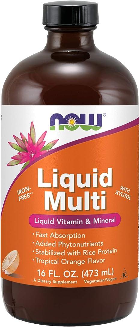 Now Foods Liquido Multi naranja tropical (Iron Free) 473 ml