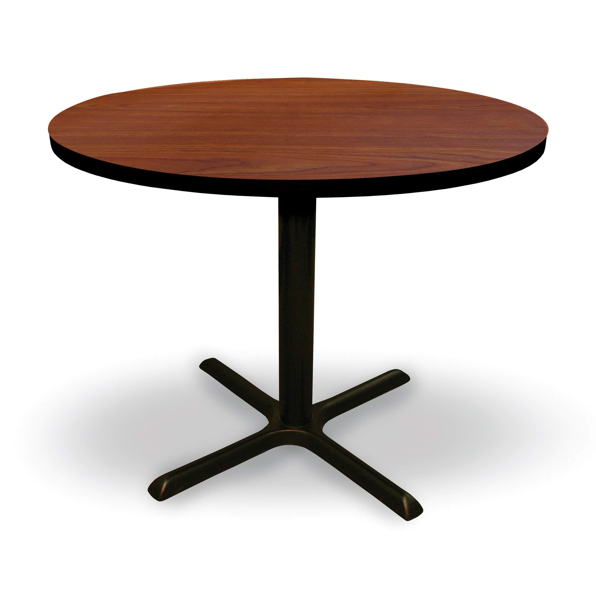 36'' Round Conference, Break Room, Multipurpose Table - Collectors Cherry Laminate/Black Finish