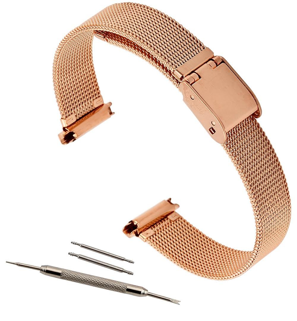 10-14 Adjustable Rose Gold Mesh Solid Buckle deployant clasp closure Watch Band Rose Gold Tone Ladies Fits Skagen and Pebble Time Round watches By United Watchbands