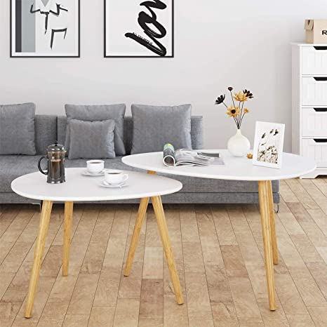 Amazon Com Homfa Large Nesting Coffee Tables For Living Room Drop Shape End Side Tables Sofa Console Tables Modern Decor Furniture For Home Office White Set Of 2 Kitchen Dining