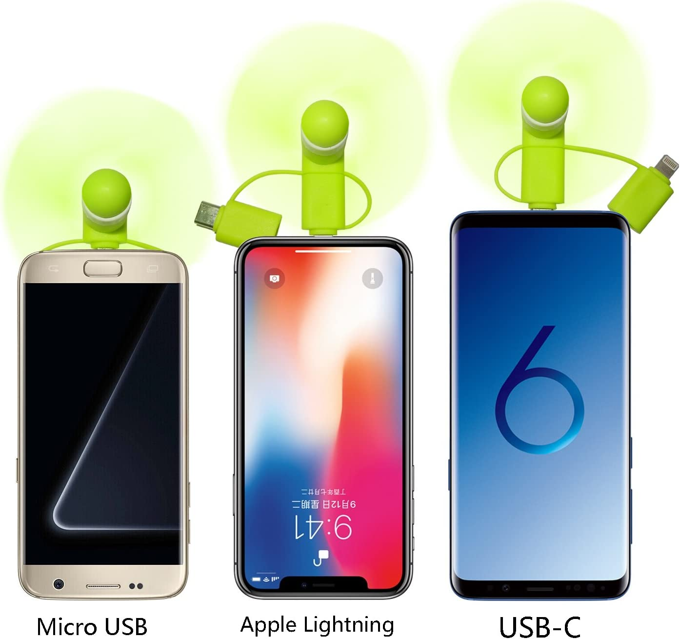 3 Piece HBirdPc Cell Phone Fan 3-in-1 Portable Powerful Mini Phone Fan for iPhone//iPad Android,Samsung Galaxy S8//S9//S10,Huawei,USB C,Type C Pink//Blue//Green