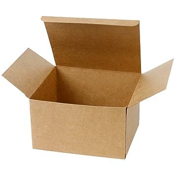 LaRibbons 20Pcs Cajas de Cartón Marrón Reciclado / Cajas de Kraft Favor Para Fiesta, Boda, Regalo, 200 x 200 x 100 mm: Amazon.es: Oficina y papelería