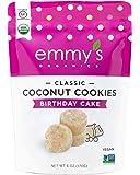 Emmy's Organics Coconut Cookies, Birthday Cake, 6 oz (Pack of 8) | Gluten-Free Organic Cookies, Vegan, Paleo-Friendly