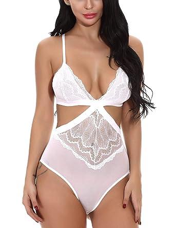 965eec9fd6c1 FEOYA Body Lingerie Femme Sexy Erotique Vêtement de NUI Bodydoll Dentelle  Femme Transparent Nuisette de Nuit