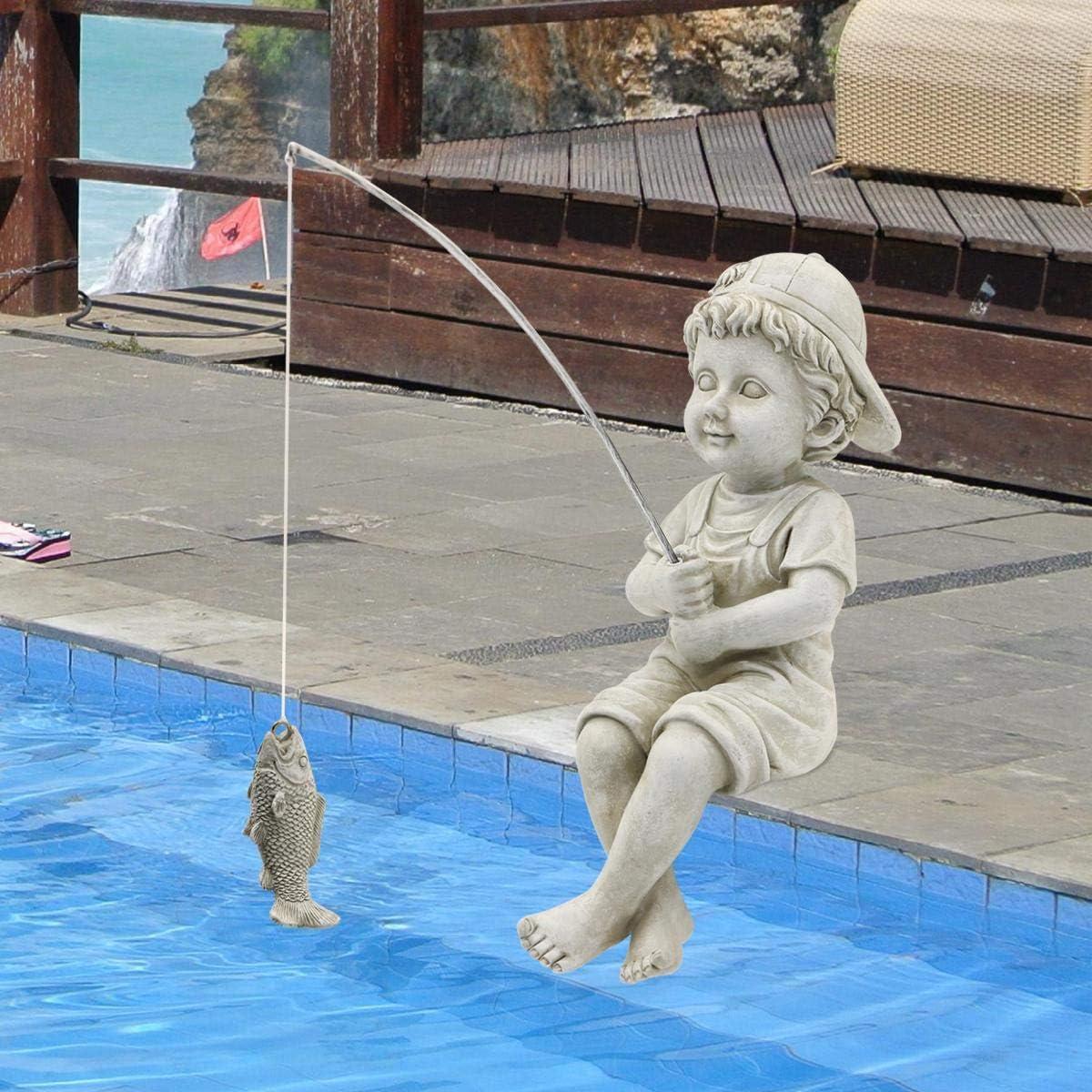 Goodeco The Little Fisherboy Garden ornament,Boy fisherman Figurine Sculpture,Outdoor Yard Lawn Pool Pond Fishing statue,28cm