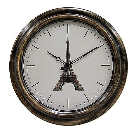 MRKE Reloj Pared Vintage, 46CM XXL Grande Retro Silencioso Impermeable Reloj de Pared para Interior