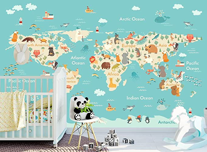 Amazon world map with ocean animals wallpaper for kids bedroom world map with ocean animals wallpaper for kids bedroom playroom removable fabric wall mural for nursery gumiabroncs Gallery