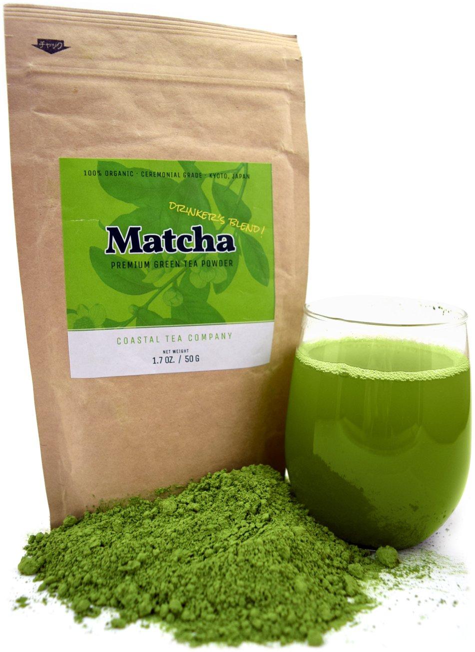 Coastal Tea Company Organic Ceremonial Matcha, Japanese Green Tea Powder, Drinking Grade, 1.7 Ounce