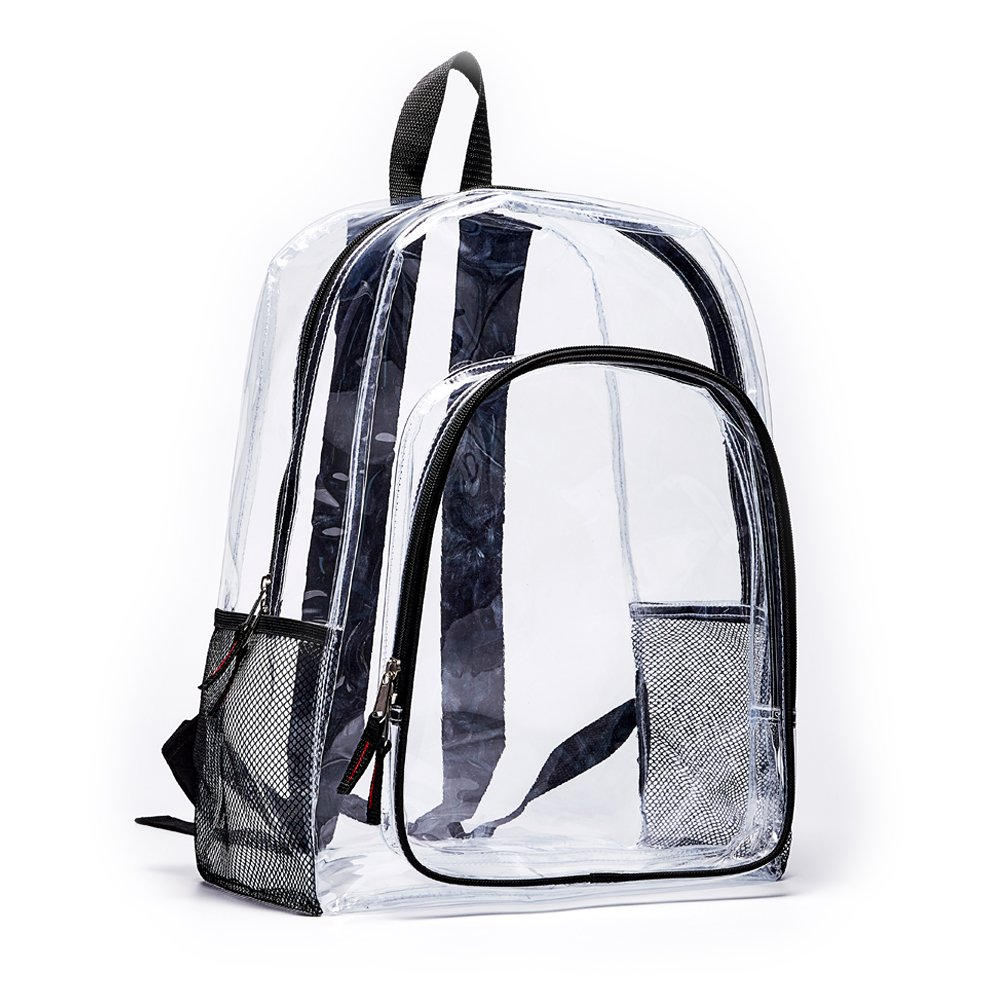 Heavy Duty Clear Backpack,Transparent Vinyl Adjustable Straps Backpack For Work ,School, Security Travel & Sports