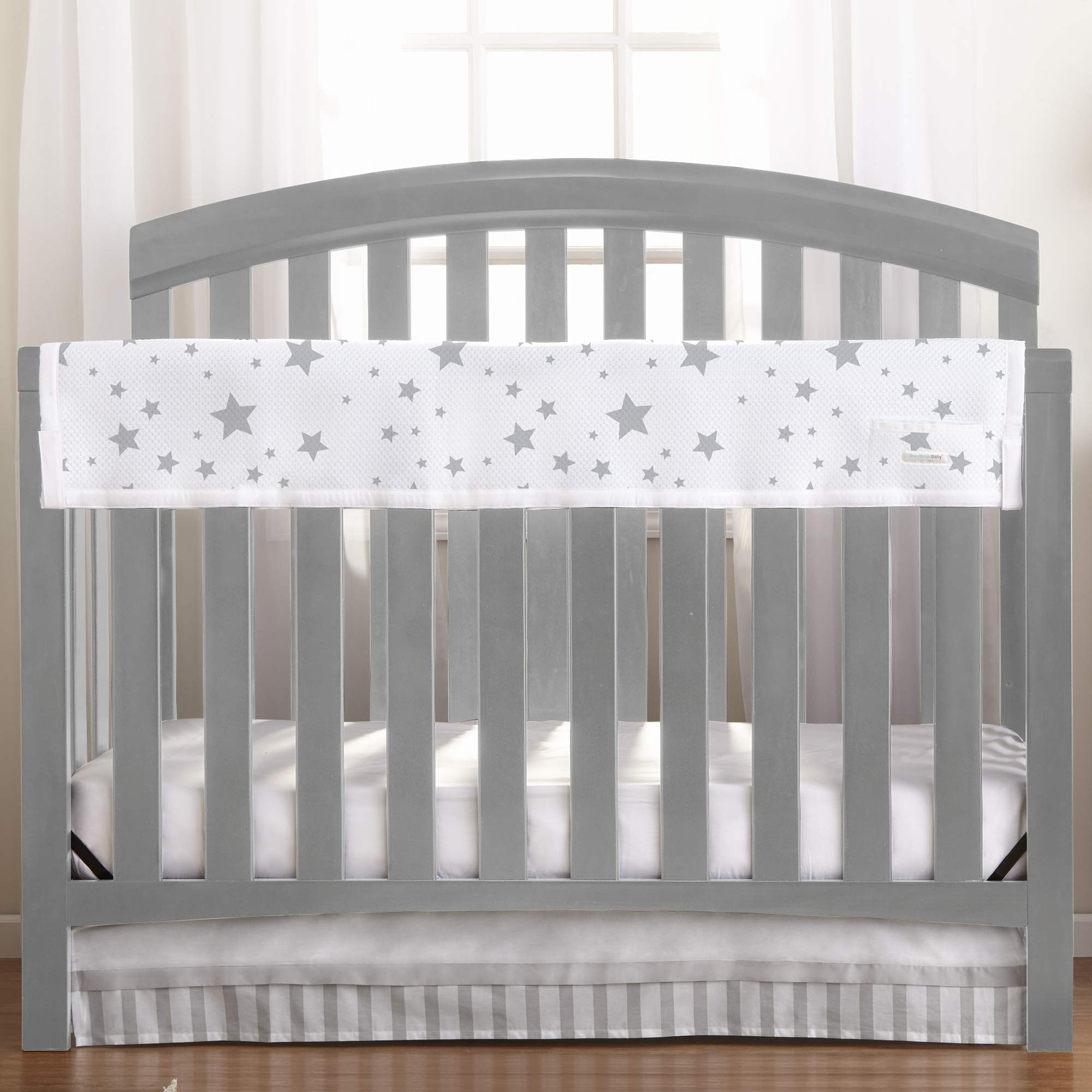 BreathableBaby Railguard Crib Rail Cover - Star Light White and Gray by BreathableBaby