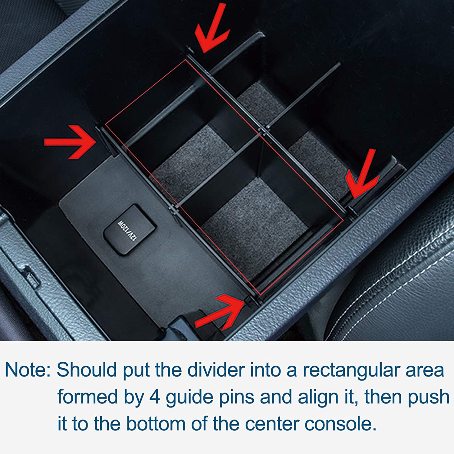 JDMCAR Center Console Organizer Compatible with Toyota 4Runner Accessories 2010-2020 2021 Insert ABS Black Materials Compartment Divider