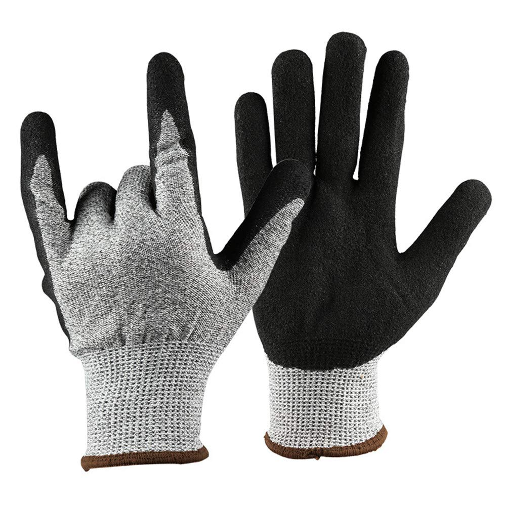 Crystalzhong Gardening Works Pruning Gloves Cut-Proof Gloves Stab-Resistant Wear-Resistant Non-Slip Dipped Rubber Gardening Gloves Unisex Thorn and Cut Proof Gloves (Size : L)