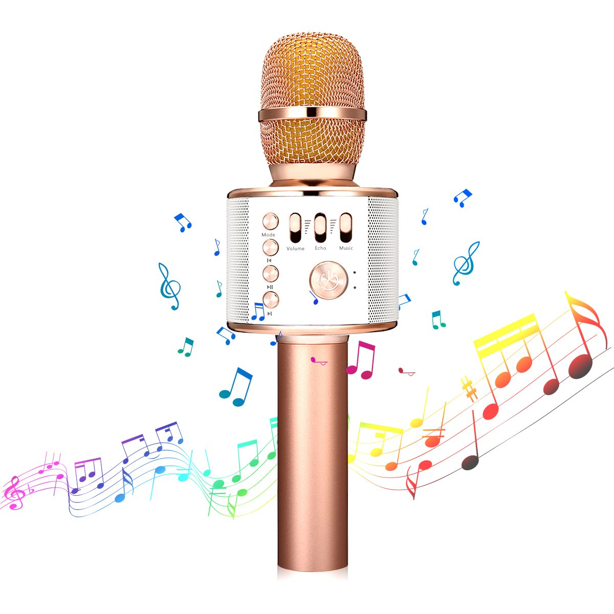 Microphone karaoké sans fil - NASUM 3-en-1 Portable intégré Bluetooth 4.1 haut-parleur Machine pour Android / iPhone / iPad / PC ou tout smartphone, pour chanter, Karaoké, enregistrement (or rose) NASUMbcjdbcwibcek8