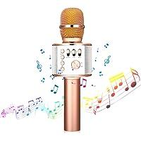 Bluetooth Karaoke Mikrofon,NASUM,tragbares drahtloses Mikrofon,4.1 Lautsprecher für die Aufnahme von Sprach und Gesang,für Party,Podcast,Familie. kompatibel mit Android/IOS, PC oder Alle Smartphone