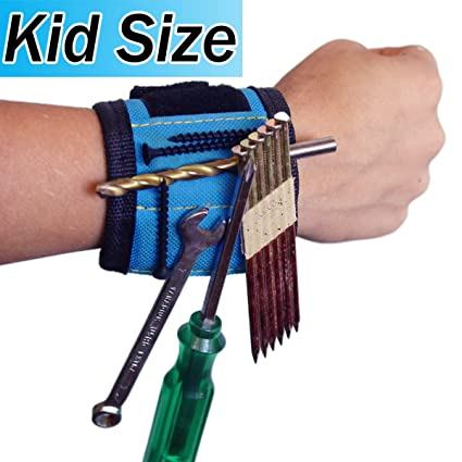 Young Builder Blue Kids Magnetic Wristband Tool Holder Best Unique