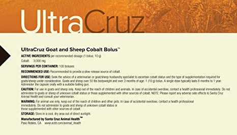 Amazon.com : UltraCruz Goat and Sheep Cobalt Bolus Supplement, 100 boluses : Pet Supplies