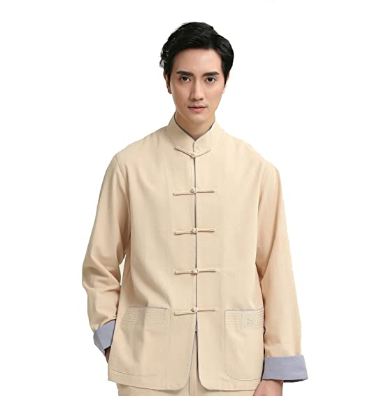 4168b633bd5f ACVIP Homme Veste de Tang Blouson Style Chinois Traditionnel Kung Fu Manche  Longue (Chinois 2XL