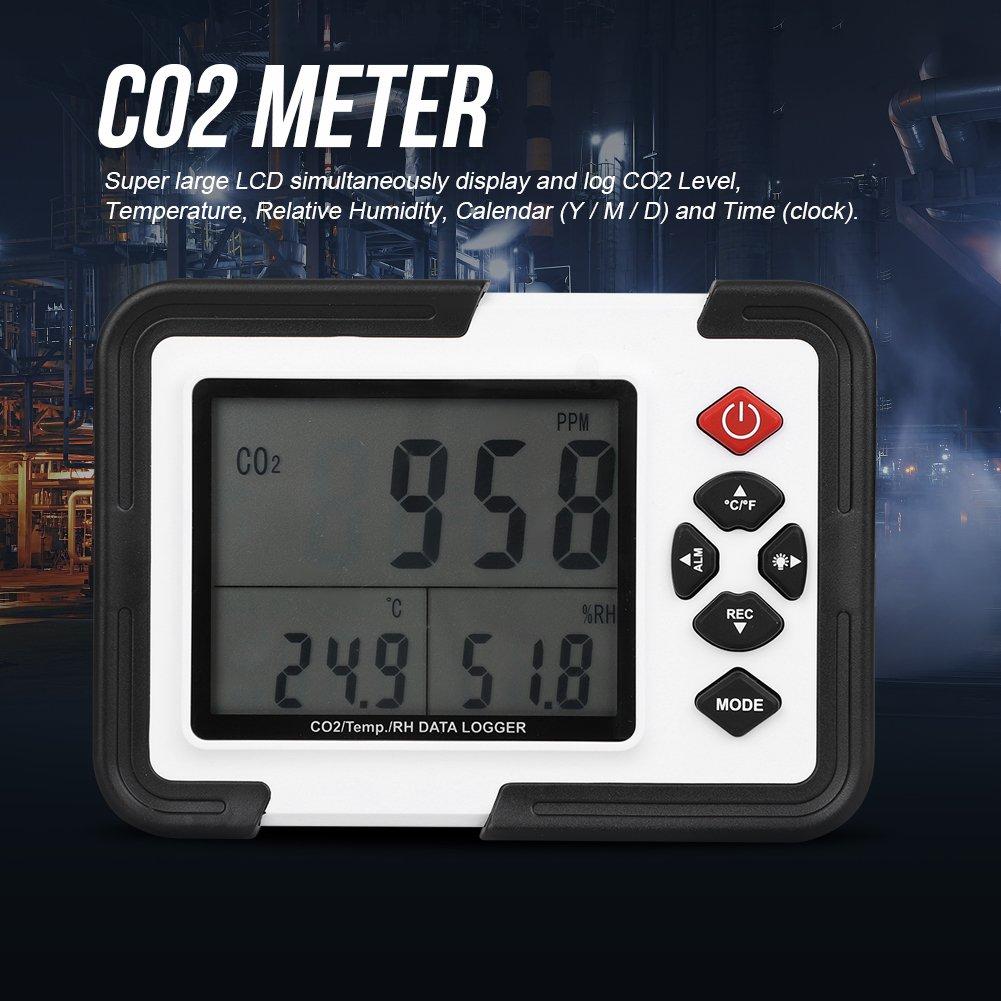 Liukouu HT-2000 Compteur de CO2 Num/érique D/étecteur 9999ppm Enregistreur de Donn/ées Moniteur dhumidit/é relative