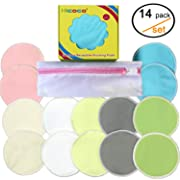 Bamboo Reusable Nursing Pads Washable – Organic Breastfeeding Pads, Super Absorbent, Leak Proof, Maternity Bra Pads - Pack of 14, with Laundry Bag