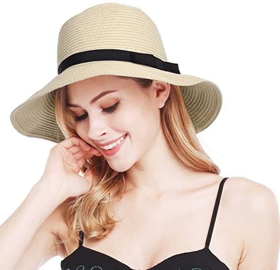 ded766dc0f17 Bienvenu Womens Straw Sun Hat Wide Brim Floppy Hat Summer Beach Cap ...
