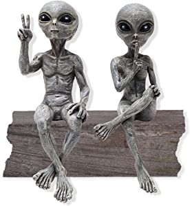 "Alien Invasion Ledge Loungers ""Peace & Quiet"" 10″ H UFO Extraterrestrial Garden Alien Statues Figurine Set – Alien Gray"
