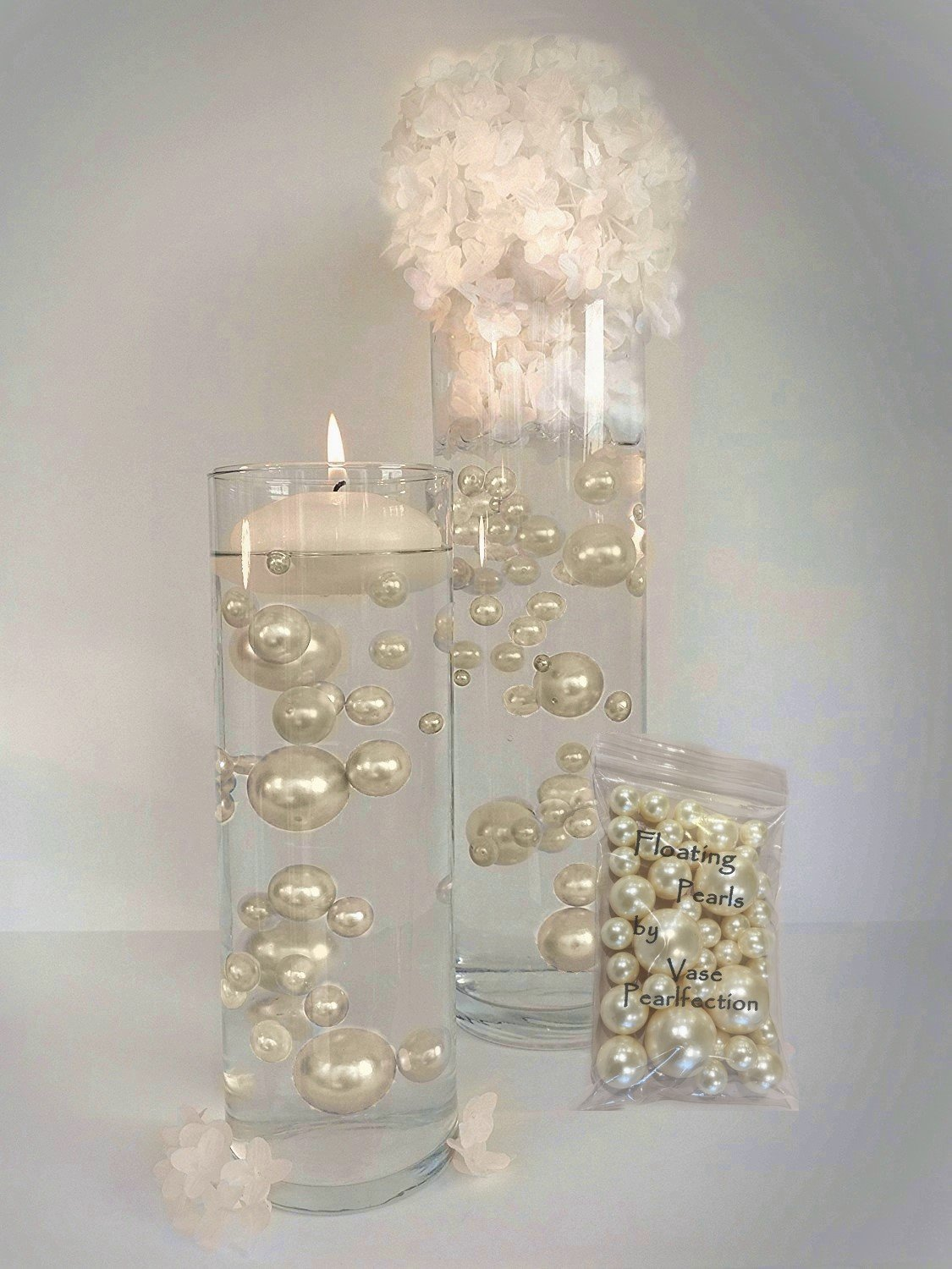 All Ivory Pearls - Jumbo and Assorted Sizes Vase Fillers for Centerpieces Decorations - To Float the Pearls- Order the Transparent Water Gels by Vase Pearlfection