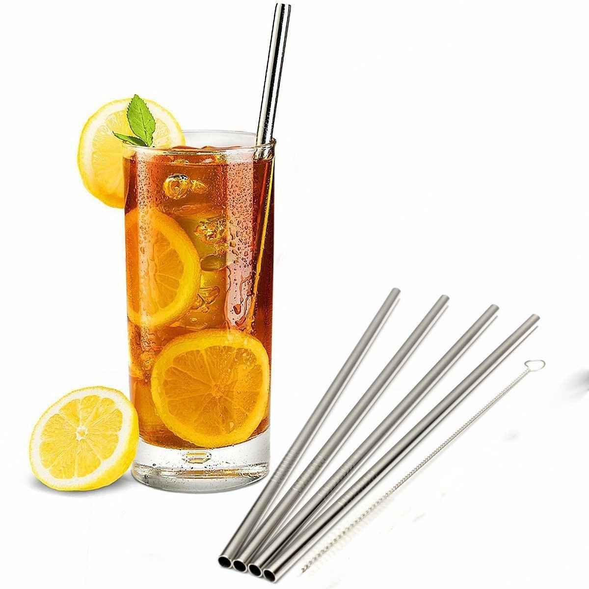 UltraByEasyPeasyStore Pack of 100 Stainless Steel Straws & 10 cleaning brushes 6mm thick Straight Reusable Washable NON-TOXIC (100)