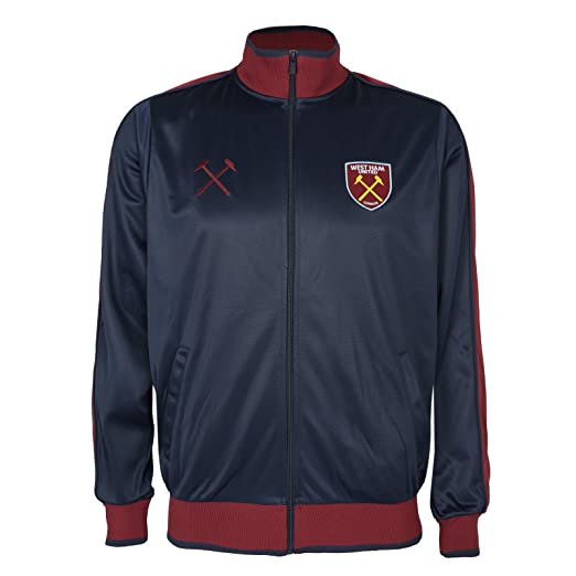West Ham United Fc Official Soccer Gift Mens Retro Track Top Jacket Navy Small