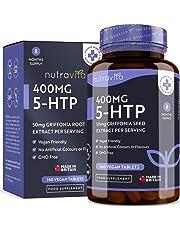 5-HTP 400 mg Haute Puissance | 240 comprimés végétaliens | 8 mois d'approvisionnement | 5-HTP Puissant extrait de Graines de Griffonia Naturelle | Fabriqué au Royaume-Uni par Nutravita