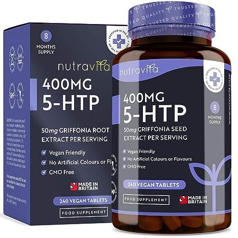 5-HTP 400 mg | 240 tabletas veganas | Suministro de 8 meses | 5
