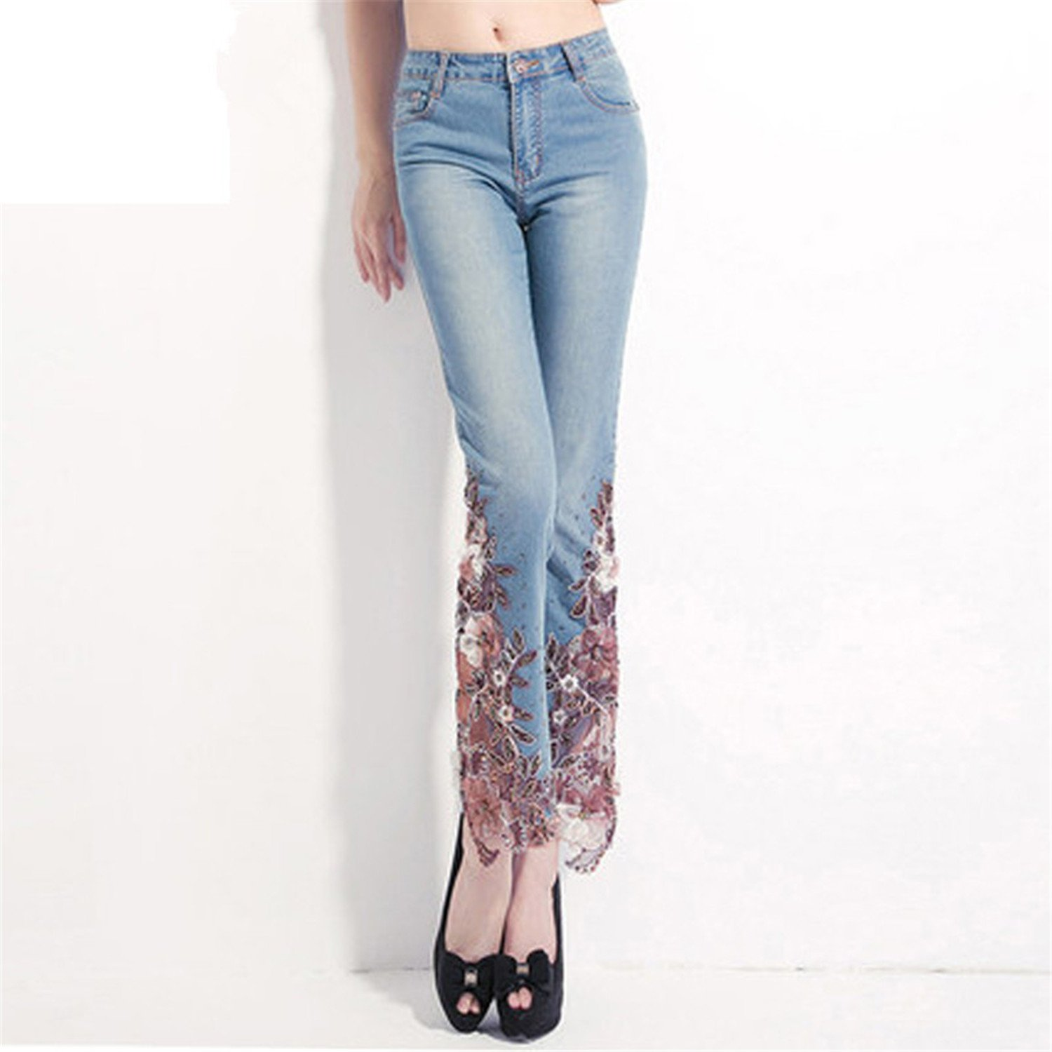 Hoared 2017 Spring Embroidered Jeans Woman Lace Spliced High Waist Denim Jeans Plus Size