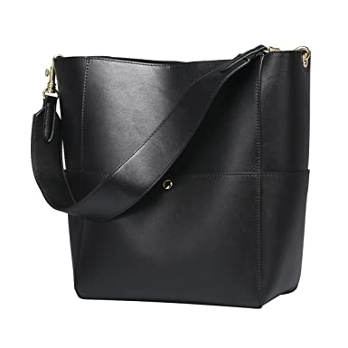 fc0b16cefcf5 S-ZONE Women s Fashion Vintage Leather Bucket Tote Shoulder Bag Handbag  Purse (Black)
