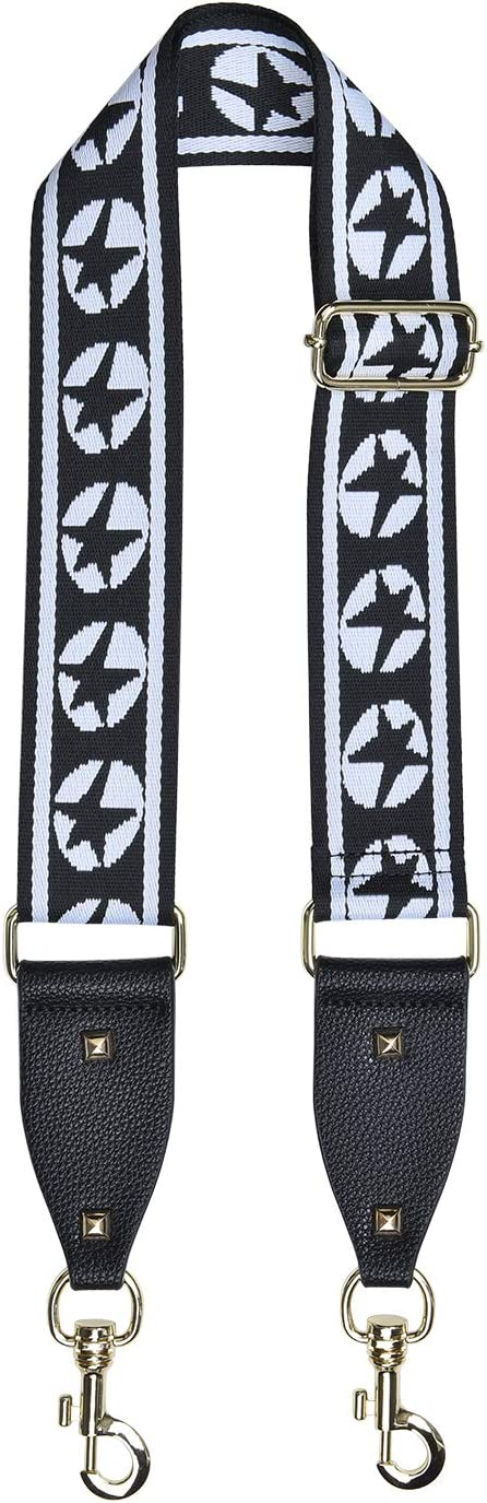 2 Inch Wide Bag Strap Adjustable Purse Strap Jacquard Woven Canvas Guitar Strap Style Shoulder Strap Gift Black
