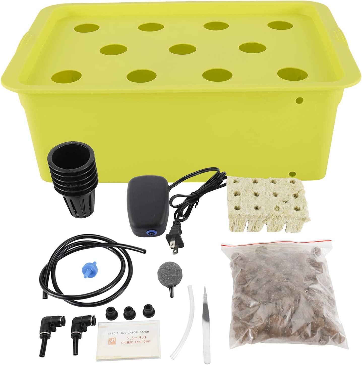 HighFree Hydroponic System Growing Kit for Plants Herb Garden Starter Set DIY Self Watering Indoor Hydroponics Tools with Large Bubble Stone Rockwool Bucket Air Pump (11 Sites)