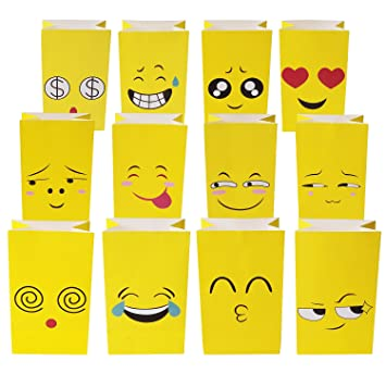Pack Of 12 Emoji Paper Treat BagsParty Bags For KidsBirthday Celebration Parties